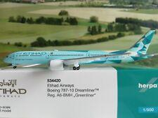 """Herpa 534420 Etihad Airways """"greenliner"""" Beoing 787-10 Dreamliner"""
