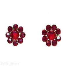 "Tarina Tarantino Classic Flower Black Cherry Crystal Earrings 1/2"" Made in USA"