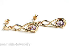 9ct Gold Amethyst Teardrop dangly earrings Gift Boxed Made in UK