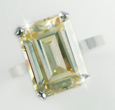 10 ct Canary Emerald Cut Ring Vintage Top Russian CZ Moissanite Simulant Size 11