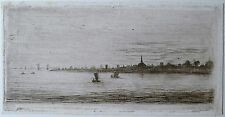 David Charles Read (1790-1851) Fine miniature etching of seascape with vessels..