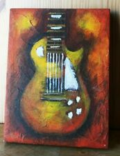SERGIO LAZO 2005 ELECTRIC GUITAR ACRYLIC PAINTING 6 X 8 SIGNED BY ARTIST.