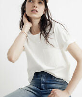 New Madewell S Easy Crop Tee In Bright Ivory Off White Pocket T Shirt NWT Cotton