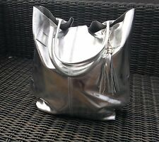 LAGENLOOK NEW METALLIC SILVER LEATHER TOTE BAG WITH TASSEL AND INSIDE PURSE