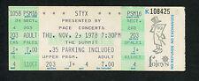 Original 1978 Styx Ambrosia unused concert ticket Houston Pieces Of Eight