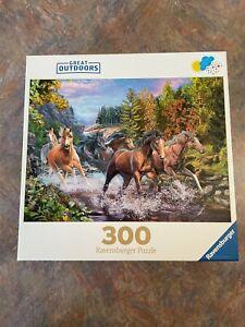 RAVENSBURGER 300 PIECE JIGSAW PUZZLE RUSHING RIVER HORSES GREAT SHAPE FAST SHIP
