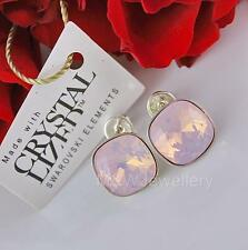 STERLING SILVER * STUDS EARRINGS WITH SWAROVSKI Elements SQUARE ROSE WATER OPAL