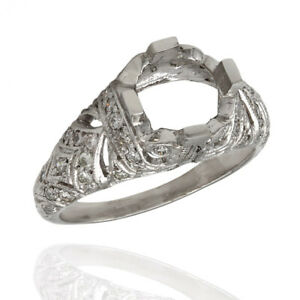 Milgrain and Filigree Accented Round Diamond Mounting in Platinum