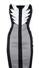 Karen Millen Black Grey Silver Stretch Satin Origami Strapless Bodycon Dress 12