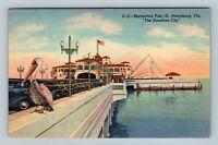 St. Petersburg FL, Recreation Pier, Pelican, Tampa Bay, Linen Florida Postcard