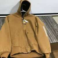Carhartt Mens Quilted Flannel Lined Sandstone Active Jacket Hood NEW -med tall