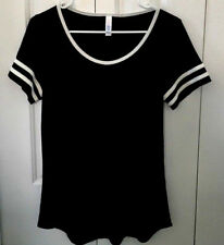LuLaRoe Black & White Perfect Scoop Raglan Stretch TShirt Top Soft Blend
