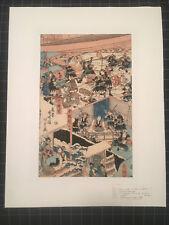 RARE Musha-e Utagawa Gototei Kunisada ga 47 Ronin Attacking Lord Kira w/ Kiwame