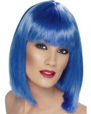 MUJER AÑOS 80 1980s GLAM Peluca para disfraz neon azul Despedida De Soltera