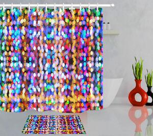 Dream Fantasy Glitter Colorful Light Spots Polyester Fabric Shower Curtain Set