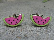 Watermelon Cufflinks Artsy Handmade Cool Foodie Cute Food Fruit