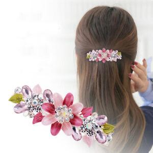 Flower Barrettes Women's Hair Clips Hairpin Rhinestone Crystal Metal for Girls