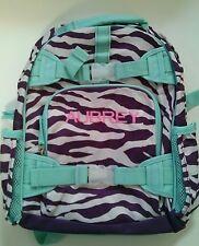Pottery Barn Kids Small Mackenzie Purple Mint Green Zebra Backpack name AUBREY