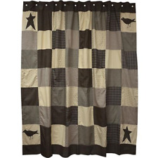 Primitive Country SHOWER CURTAIN KETTLE GROVE Black Stars Crows Patchwork Fabric