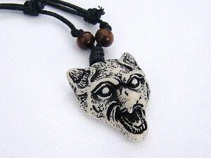 1 x Mens Faux Yak Bone Animal White Wolf Head Pendant Necklace Adjustable