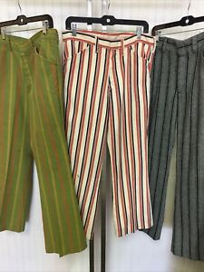 Vintage 1960s Mod Groovy Striped Pants Jeans Adult Lot Of 3