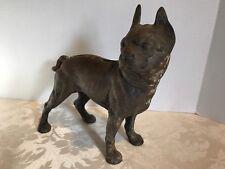 """Antique Cast Iron brown 10 1/4"""" BANK_HUBLEY Bulldog Boston Terrier_DOG Door Stop"""