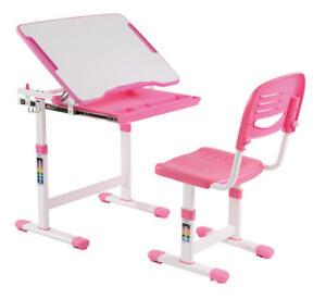 PrimeCables® Adjustable Children's Study Desk Chair Set Child Kids Table, Pink