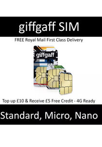 GiffGaff Sim Card with Credit Pay As You Go £5 Standard Micro Nano 4G Unlimited