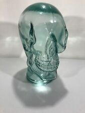 LARGE Glass Skull Recycled Glass Vidrios San Miguel Hand Made Spain LIGHT GREEN