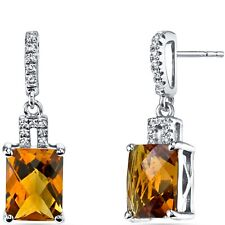 14K White Gold Citrine Earrings Radiant Checkerboard Cut 4.00 ct