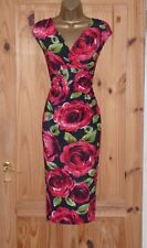 Phase Eight stretchy rose print pencil wiggle evening party cocktail dress sz 8