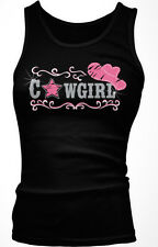Cowgirl Pink Cowboy Hat Country Rhinestone Sparkle Star Shiny Am Girls Tank Top