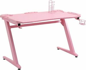 Pink Computer Desk Gaming Table with Cup Holder & Headphone Stand Rack