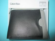 NEW Calvin Klein WALLET Billfold LEATHER ID Grey BLACK GIFT BOX