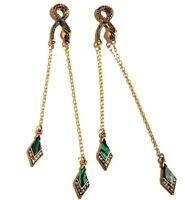 GOLD SNAKE EGYPTIAN REVIVAL EARRINGS serpent art deco 1920s nouveau crystal Z3