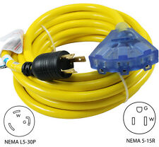 Conntek 30A 25Ft Generator L5-30 to 15A 3 outlets Extension Cord 20311-025