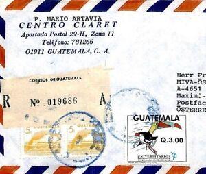 CM82 Guatemala Cover 1990 UNIVERSITY GAMES 3q Top Value BIRDS Toucan HURDLING