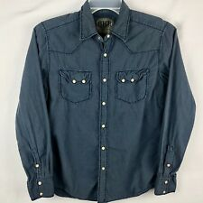 BKE Buckle Mens Small Slim Fit Western Pearl Snap Button Up Shirt Blue Cotton