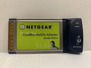 Netgear CardBus Notebook Laptop PCMCIA Network Adapter 10/100 Mbps FA511 v2