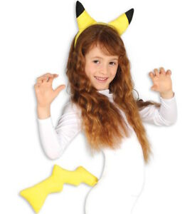 Pikachu Ears Tail Set Cosplay Fancy Dress Costume Headband Hair Band Kids Adults