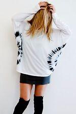 NEW Free size mandala print L/S top. Tie-dye white & black. Boho gypsy