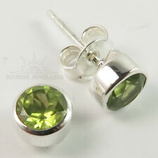Small Cute Stud Post Earrings 925 Sterling Silver Natural PERIDOT Gemstone