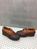 Sperry Top-Sider HERON SEAL Brown Leather/Rubber Rain Boots Women's Size 6.5 M