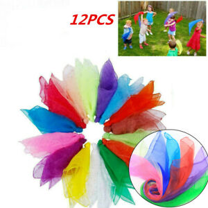 Pack of 12 Colors Dance Autism Sensory Toy Juggling Scarves Kid Adult Party Gift