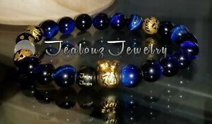 Sterling Silver 24k Gold Money Bag 8mm Tiger Eye Yoga Gemstone Mens Bracelet