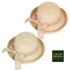 Ladies Summer Cloche Straw Hat Excellent Quality Linen Bow Trim Adjustable Size