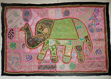 Vintage Tapestry Elephant Patchwork Wall Hanging Hippie Handmade Embroidered
