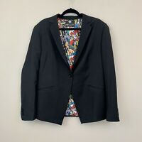 DC Comics Size 16 Women's Blazer Black Vintage Print One-Button Superheroes
