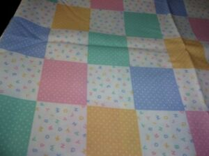 SPRINGS PASTEL CHECKS AND LETTERS ON WHITE Cotton/Quilt/Sew/Craft Fabric  1 Yd