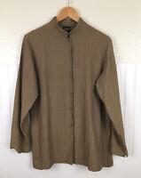 Eileen Fisher Lagenlook Linen Blend Button Up Long Sleeve Shirt Top Women's Sz S